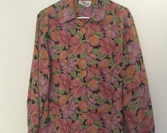 Vintage Sheer Floral Button Up