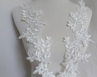 Wedding lace applique pair in off white for bridal, sashes, veils, costumes
