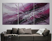 Large Purple Painting Abstract Modern artwork on Multiple Canvas, Original Art 72x36 'Royal Dreams' Pink Burgundy abstract art Ready to Hang