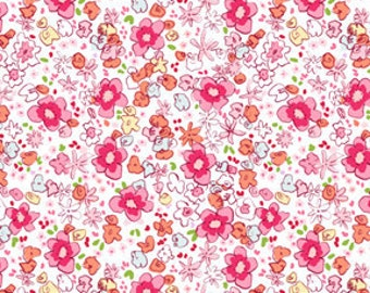 Meadow in Soft Pink, Children At Play by Sarah Jane  OOP HTF Designer Cotton Fabric FQ Fat Quarter