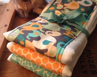 Burp cloths, elephants, aqua and orange, orange and teal, baby shower gift, baby boy