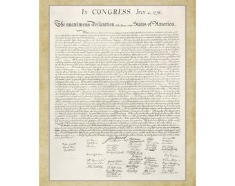 Declaration of Independence; 16x20 Giclee Print