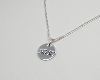 Sterling silver hugs and kisses necklace, XOXO necklace