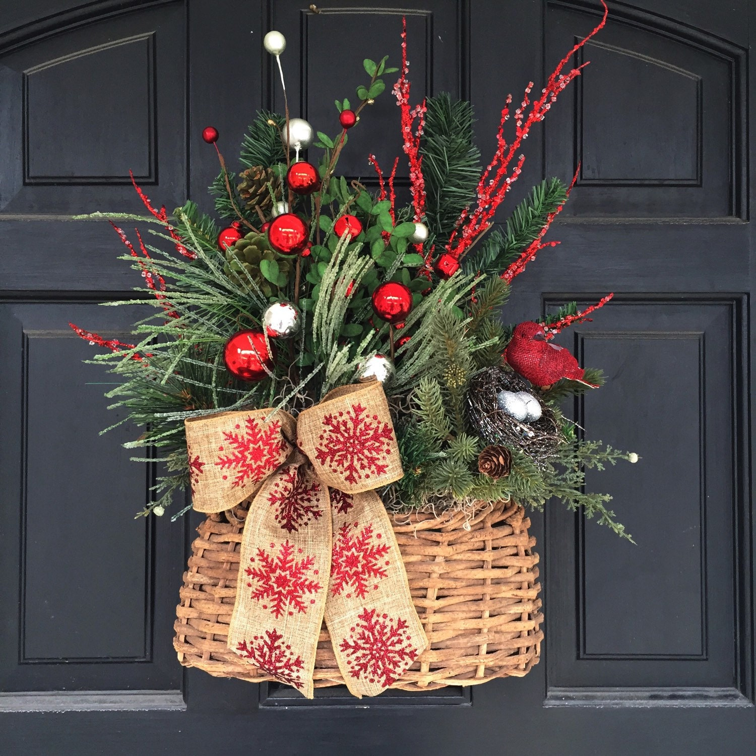 Front Door Baskets: Rustic Christmas Holiday Winter Flat Basket Front Door