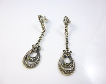 Marcasite Earrings, Long Earrings,  Dangle Earrings, Marcasite Jewelry