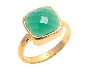 Ring 925 Sterling Silver Green Onyx Gemstone Ring-Vermeil Gold