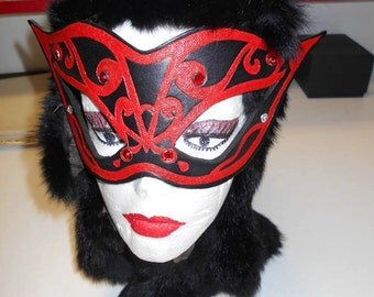 Leather Mardi Gras Mask, Mardi Gras Masks, Leather Masks, Leather Mask, Mask, Mardi Gras Mask, Halloween Mask