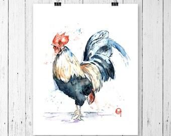 ROOSTER PRINT, Country decor, farm art, bird art, Rooster art, rooster painting, farm decor, rooster watercolour, chicken watercolour
