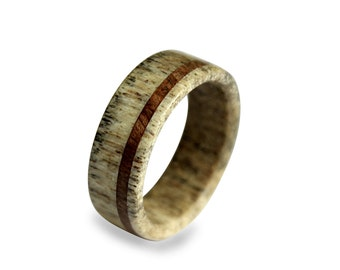 Handmade Deer Antler Ring, Antler Ring, Wooden Ring, Antler Ring Inlaid With Oak Wood