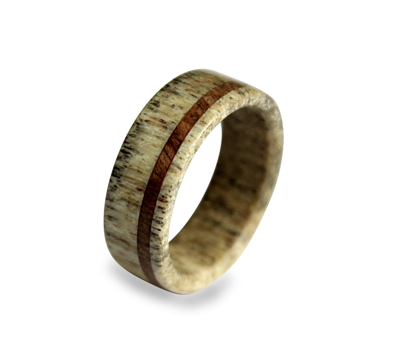 deer antler ring antler ring wooden ring antler ring inlaid with oak wood - Antler Wedding Rings