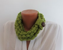 Crocheted Scarf Necklace, Loop Infinity Spring Summer Scarf Necklace Green Grass , Boho Knit Scarf Necklace, Wool Acrylic Scarf Necklace