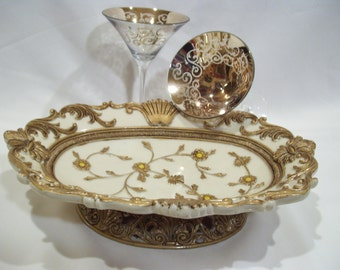 Oval Italian Platter with Raised Gold Design and Footed Base, Hard Resin