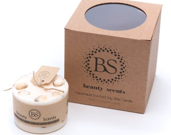 Handmade Scented Soy Candle With Sea Shells H 5 cm D 7.5 cm
