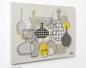Bottles & Vases | Wall Art Canvas Print - Yellow