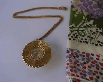 Vintage Saxony Watch Necklace, Mid Century Space Age, Atomic Era Pendant Watch Necklace on a Chain, Runs, Keeps time, Works