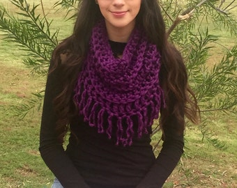 Chunky Cowl, Infinity Scarf, Crochet Cowl With Fringe, Super Soft Purple Scarf, Circle Scarf, Fall Fashion, Winter Fashion, Ready To Ship