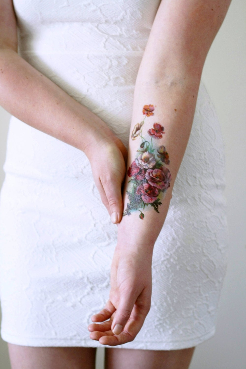 Large vintage floral temporary tattoo flower temporary for Floral temporary tattoos