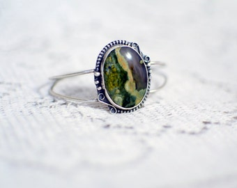 Moss Agate with Amethyst and Sterling Silver Cuff