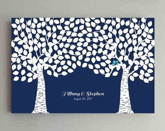 250 Guest Wedding Guest Book Wood Two Double Tree Wedding Guestbook Alternative Guestbook Poster Wedding Guestbook Poster - Navy