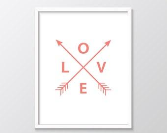 Coral Printable Art, Love Arrows, Coral Arrows, Coral Printable Art, Coral Wall Art, Love Arrows Print, Digital Print, Coral Print