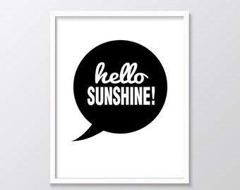 Hello Sunshine Print, Hello Sunshine Printable Wall Art, Monochrome Nursery Decor, Black and White Nursery