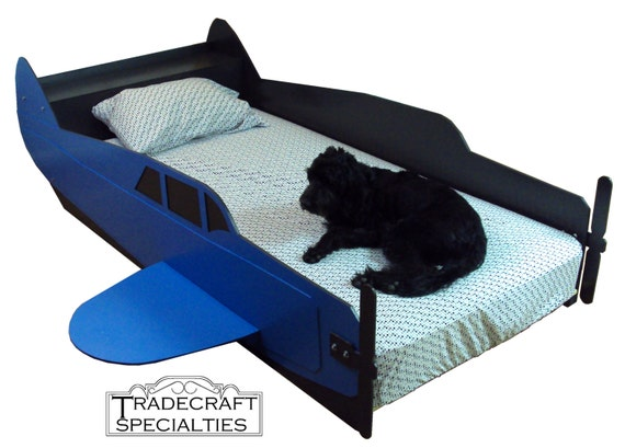 Airplane twin kids bed frame handcrafted by tradecraftspec for Airplane bed frame