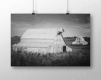 Rustic Black and White Barn Photography Farm Print Country Farmhouse Home Decor Farm Landscape Print Rustic Wall Art