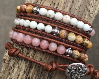 Light brown & pink beaded triple wrap bracelet