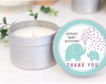 Personalised Baby Shower favours / bomboniere. Soy candle tins. Elephant Design by Mahina