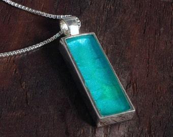 Silver Pendant - Aqua Blue Rectangle