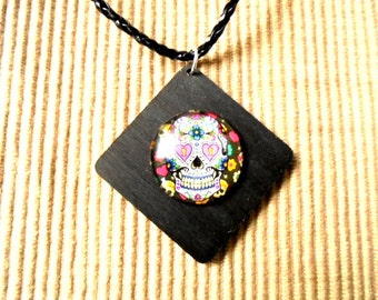Leather necklace, skull (1149)