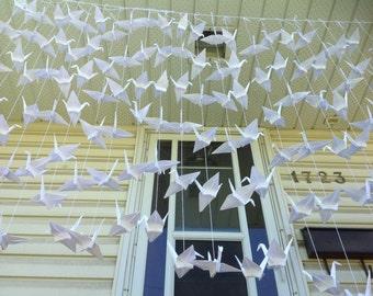 40 Strands - Set of 6- Crane Backdrop - White Decor- Origami cranes - Wedding Backdrop - Photo backdrop