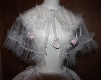 Bridal Caplet - White Caplet - Wedding Wear - Organza Caplet - Beaded Wedding Caplet - Tatting - Handmade Wedding Capet - Pink Wedding