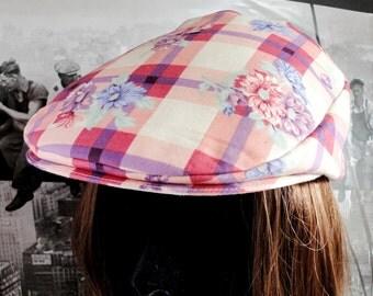 Ladies Flat Cap, Ladies Driving Hat, Ladies Floral Flat Cap