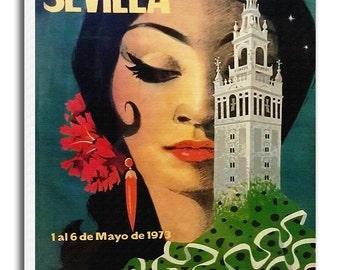 Seville Spain Print Vintage Travel Poster Retro Spanish Home Decor Art xr946