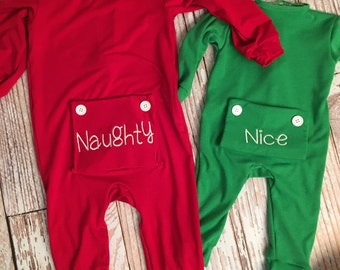 Christmas Little Girl's Personalized Long John Pajamas with Bottom Flap