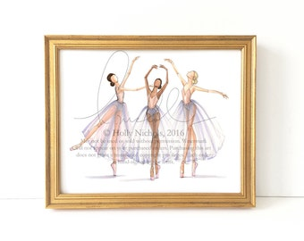 Dancer Study Trio (Fashion Illustration Print)