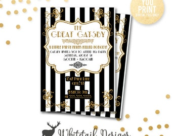 gatsby party invitation the great gatsby party invite gatsby party black and gold - Gatsby Party Invitation
