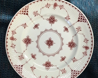 Johnson Bros Denmark Pink Luncheon Plates, Pink Geometric Floral Plate, 8 inch Plate, Pink Flower and Lines, Fluted Rim, No Trim, Set of 2