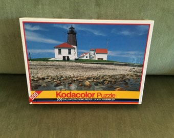 "Lighthouse Puzzle, Point Judith RI, Rose Art Puzzle #8888, 500 Pieces, Kodacolor Puzzle, 13"" x 9"",  Factory Sealed NIB, Made in USA"