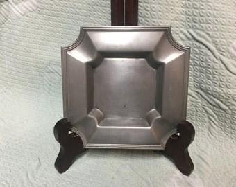 Pewter Ashtray, Italian Pewter Square Ashtray, Peltro 95%, 5 x 5 inches, Ashtrays, Metal ashtrays, Art Deco Ashtrays