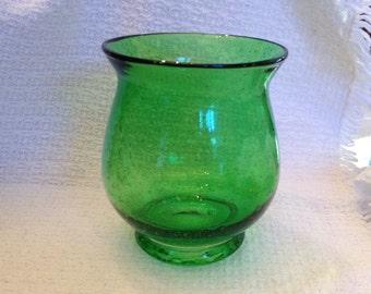 Green Bubble Glass Vase, Emerald Green Glass Vase, Bubble Glass, Urn Shape Vase, Emerald Green Vase, Bubble Glass Vase