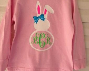 Sooooo cute Easter bunny monogrammed long sleeve t for girls