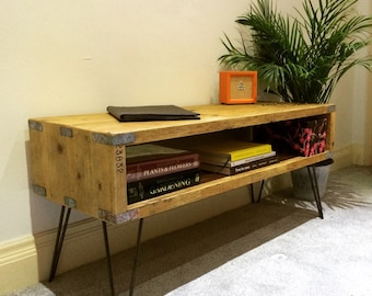 Industrial reclaimed Utility table / Side table / Coffee table with hairpin legs.