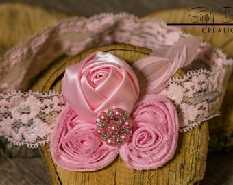 Newborn Pink Rosette Headband