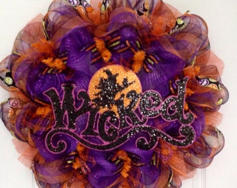 Wicked Halloween Wreath with Witch Flying By Full Moon Handmade Deco Mesh