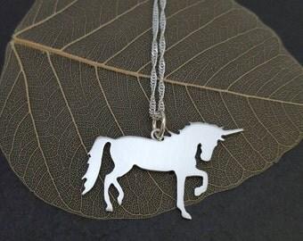 Sterling silver unicorn pendant