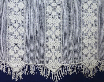 Antique french curtain crochet lace white