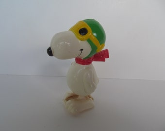 Snoopy Aviva - Peanuts - Wind Up plastic Toy - Snoopy as Red Baron - Vintage Collectables