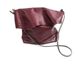 Red Leather Fold Over Bag